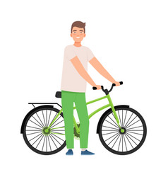 Man stands next to a bicycle vector