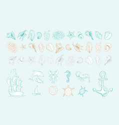 marine line art icons ocean and sea beach shells vector image