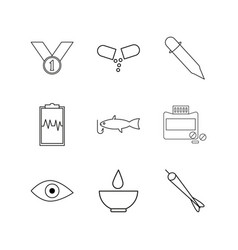 medical linear icon set simple outline icons vector image