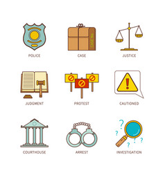 Minimal lineart flat justice iconset vector