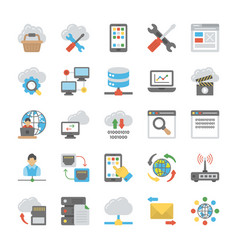 network and cloud computing icons set vector image