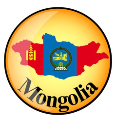 Orange button with the image maps of Mongolia vector