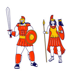 Pallas athene and ares mars olympian god and vector