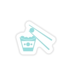 Paper sticker on white background cheese balls vector