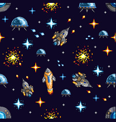 pixel design of spacecrafts in war vector image