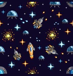 pixel design spacecrafts in war vector image