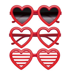 realistic detailed 3d vintage red heart glasses vector image