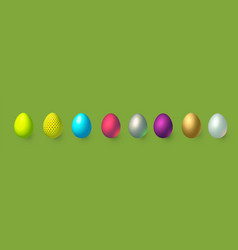 realistic easter eggs 3d set holiday decoration vector image