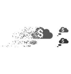 Richness dream clouds dissolving pixel icon vector