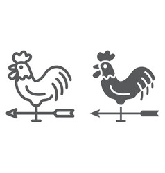 Rooster weather vane line and glyph icon vector