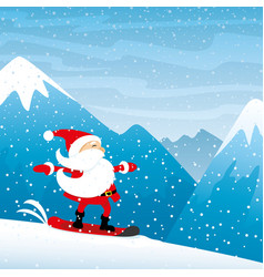 santa claus snowboarding in the mountains vector image