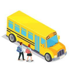school bus and pupils with backpacks children vector image