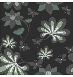 Seamless background with butterfly ang flower vector