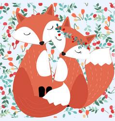 Seamless cute couple fox in pretty cherry berry vector