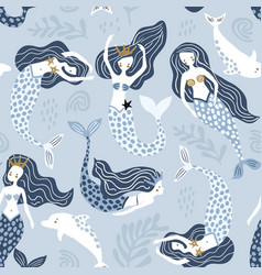 seamless pattern with creative mermaids vector image