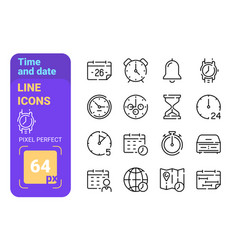 set 64px time and date simple lines icons vector image