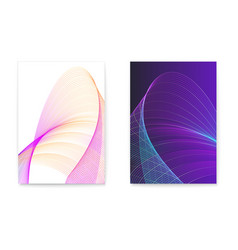 set digital posters with twisted colored lines vector image