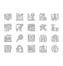 set engineering and manufacturing line icons vector image