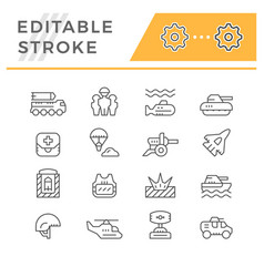 set line icons army vector image