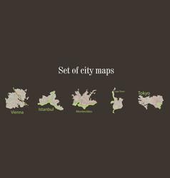 Set of landscape elements city top view road port vector