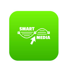 smart media icon green vector image