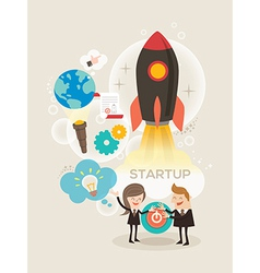 Start up business concept idea rocket launch vector image