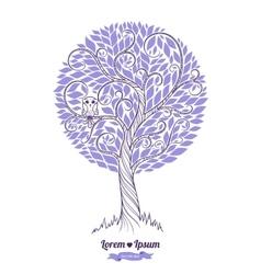 Stylized green tree Wedding vector image