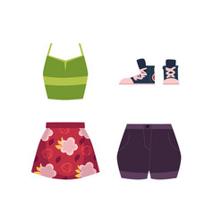 Summer outfit - vest skirt shorts and sneakers vector