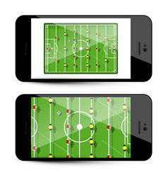 table football app on mobile phone - soccer game vector image