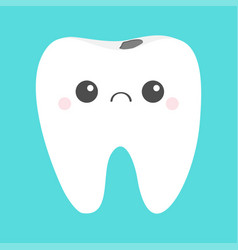 Tooth icon sad face with caries crying bad ill vector