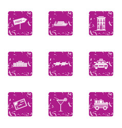 travelling to miami icons set grunge style vector image