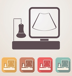 Ultrasound machine flat icon set in color boxes vector