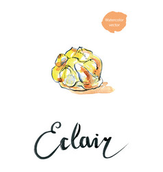Watercolor cake eclair vector
