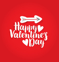 words happy valentines day with hearts and arrow vector image