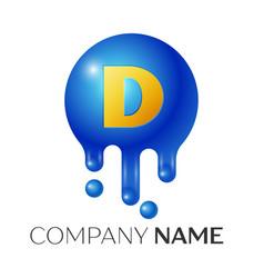 d letter splash logo blue dots and bubbles letter vector image vector image