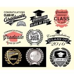 Graduation sector set Class of 2016 Congrats grad vector image