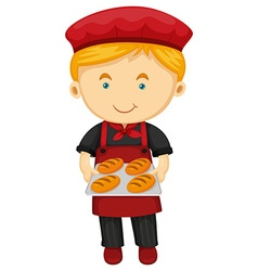 Male baker holding tray of bread vector image vector image