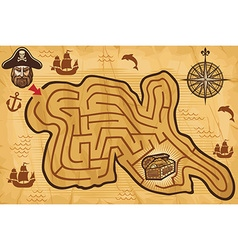 Pirate maze vector image