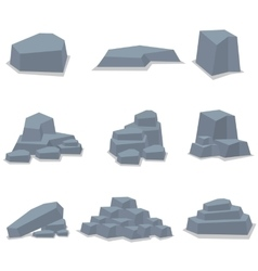 Rock stone set object art vector image
