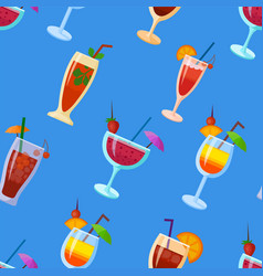 background with cocktails flat style summer vector image