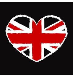 British flag t shirt heart vector image vector image