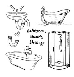 doodle bath and shower vector image