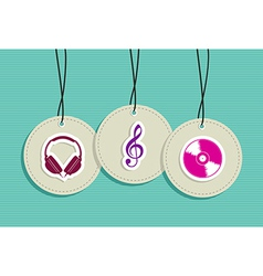 Hanging hipster music badges set vector image vector image