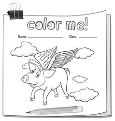A worksheet with a flying pig vector image vector image