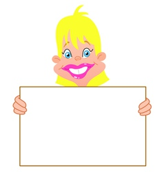 blond girl with sign vector image vector image