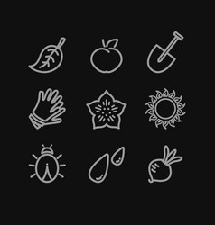 gardening flat icons set vector image vector image