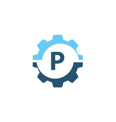 gear solution logo initial p vector image