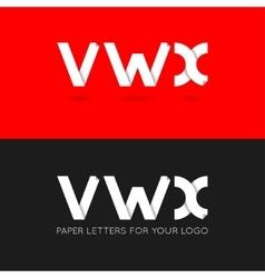 Letter v w x logo paper set background vector