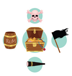pirate treasure chest flag rum skull telescope vector image vector image