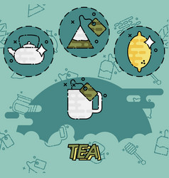 Tea flat concept icons vector